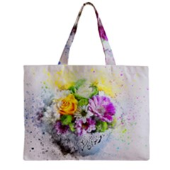 Flowers Vase Art Abstract Nature Zipper Mini Tote Bag by Celenk
