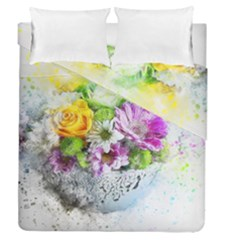Flowers Vase Art Abstract Nature Duvet Cover Double Side (queen Size) by Celenk