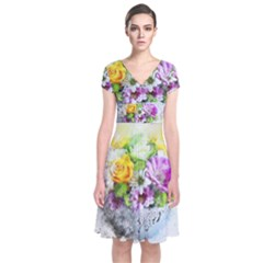 Flowers Vase Art Abstract Nature Short Sleeve Front Wrap Dress