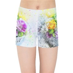 Flowers Vase Art Abstract Nature Kids Sports Shorts
