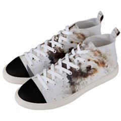 Dog Animal Pet Art Abstract Men s Mid Top Canvas Sneakers by Celenk