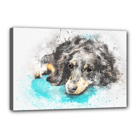 Dog Animal Art Abstract Watercolor Canvas 18  X 12  by Celenk