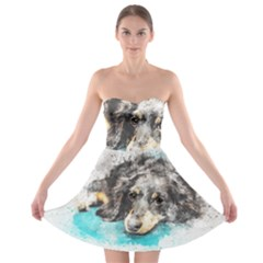 Dog Animal Art Abstract Watercolor Strapless Bra Top Dress