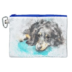 Dog Animal Art Abstract Watercolor Canvas Cosmetic Bag (xl)