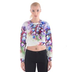 Berries Pink Blue Art Abstract Cropped Sweatshirt by Celenk