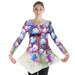 Berries Pink Blue Art Abstract Long Sleeve Tunic