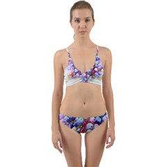 Berries Pink Blue Art Abstract Wrap Around Bikini Set by Celenk