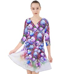 Berries Pink Blue Art Abstract Quarter Sleeve Front Wrap Dress