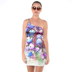 Berries Pink Blue Art Abstract One Soulder Bodycon Dress
