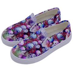 Berries Pink Blue Art Abstract Kids  Canvas Slip Ons by Celenk