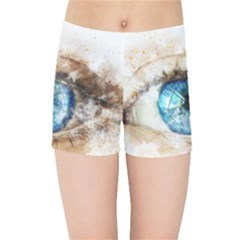 Eye Blue Girl Art Abstract Kids Sports Shorts
