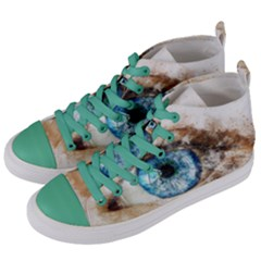 Eye Blue Girl Art Abstract Women s Mid-top Canvas Sneakers by Celenk