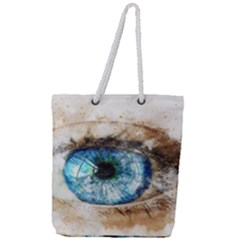 Eye Blue Girl Art Abstract Full Print Rope Handle Tote (large)
