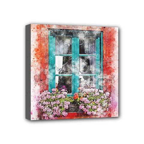 Window Flowers Nature Art Abstract Mini Canvas 4  X 4