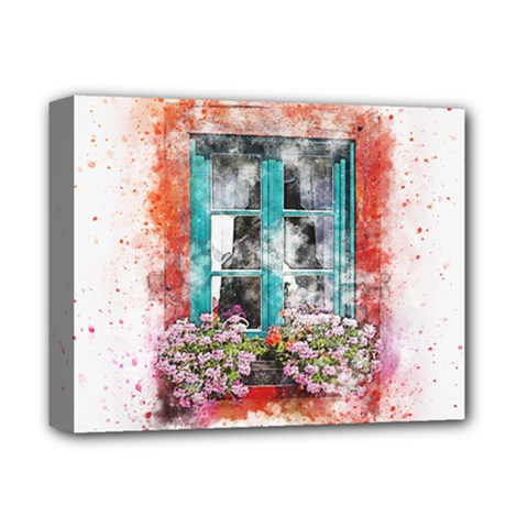 Window Flowers Nature Art Abstract Deluxe Canvas 14  X 11  by Celenk