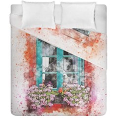 Window Flowers Nature Art Abstract Duvet Cover Double Side (california King Size) by Celenk