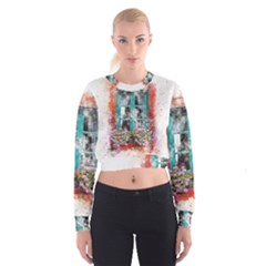 Window Flowers Nature Art Abstract Cropped Sweatshirt