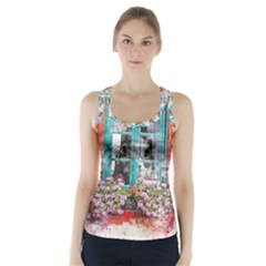 Window Flowers Nature Art Abstract Racer Back Sports Top