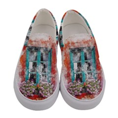 Window Flowers Nature Art Abstract Women s Canvas Slip Ons