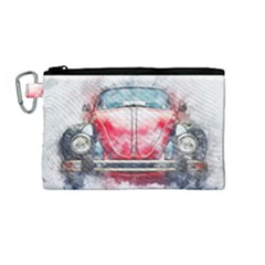 Red Car Old Car Art Abstract Canvas Cosmetic Bag (medium) by Celenk