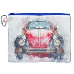 Red Car Old Car Art Abstract Canvas Cosmetic Bag (xxl) by Celenk