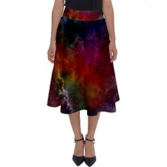 Abstract Picture Pattern Galaxy Perfect Length Midi Skirt