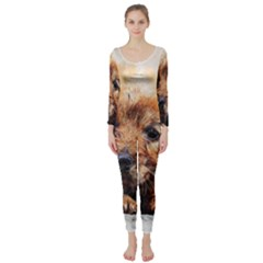 Dog Puppy Animal Art Abstract Long Sleeve Catsuit