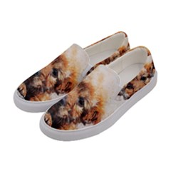 Dog Puppy Animal Art Abstract Women s Canvas Slip Ons by Celenk
