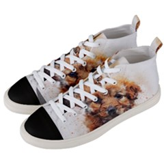 Dog Puppy Animal Art Abstract Men s Mid-top Canvas Sneakers by Celenk