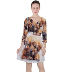 Dog Puppy Animal Art Abstract Ruffle Dress