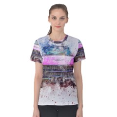 Pink Car Old Art Abstract Women s Cotton Tee by Celenk