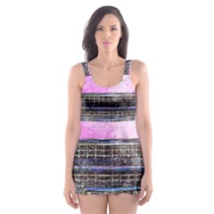 Pink Car Old Art Abstract Skater Dress Swimsuit by Celenk
