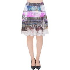 Pink Car Old Art Abstract Velvet High Waist Skirt by Celenk
