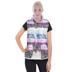 Pink Car Old Art Abstract Women s Button Up Puffer Vest by Celenk