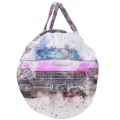 Pink Car Old Art Abstract Giant Round Zipper Tote
