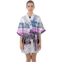 Pink Car Old Art Abstract Quarter Sleeve Kimono Robe by Celenk