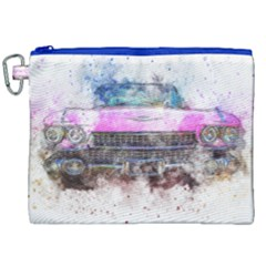 Pink Car Old Art Abstract Canvas Cosmetic Bag (xxl) by Celenk
