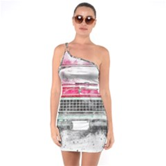 Car Old Car Art Abstract One Soulder Bodycon Dress