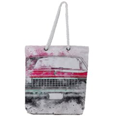 Car Old Car Art Abstract Full Print Rope Handle Tote (large)