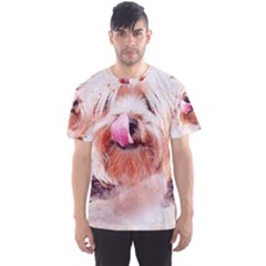Dog Animal Pet Art Abstract Men s Sports Mesh Tee by Celenk