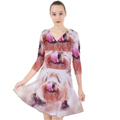 Dog Animal Pet Art Abstract Quarter Sleeve Front Wrap Dress