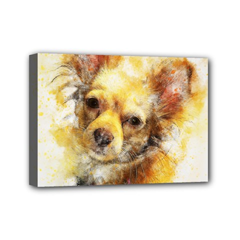 Dog Animal Art Abstract Watercolor Mini Canvas 7  X 5