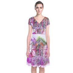 Window Flowers Nature Art Abstract Short Sleeve Front Wrap Dress