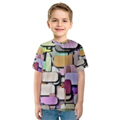 Background Painted Squares Art Kids  Sport Mesh Tee