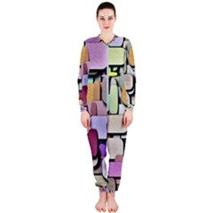 Background Painted Squares Art Onepiece Jumpsuit (ladies)  by Celenk