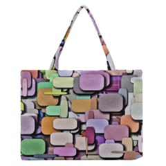Background Painted Squares Art Zipper Medium Tote Bag by Celenk