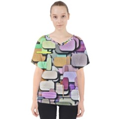 Background Painted Squares Art V Neck Dolman Drape Top by Celenk