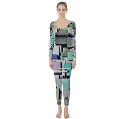 Background Painted Squares Art Long Sleeve Catsuit by Celenk