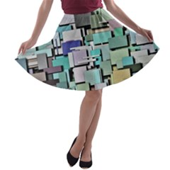 Background Painted Squares Art A Line Skater Skirt