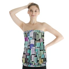 Background Painted Squares Art Strapless Top